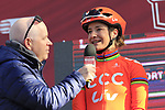 Anthony McCrossan speaks to Marianne Vos (NED) CCC-Liv at sign on before the Strade Bianche Women Elite 2019 running 133km from Siena to Siena, held over the white gravel roads of Tuscany, Italy. 9th March 2019.<br /> Picture: Eoin Clarke | Cyclefile<br /> <br /> <br /> All photos usage must carry mandatory copyright credit (© Cyclefile | Eoin Clarke)