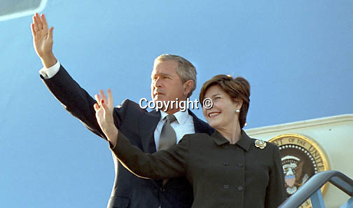 President George W. Bush 43  President of the United States and wife Laura wave from Air Force One, Fine Art Photography by Ron Bennett, Fine Art, Fine Art photography, Art Photography, Copyright RonBennettPhotography.com ©