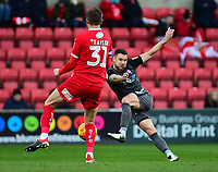 Lincoln City's Jason Shackell scores the opening goal<br /> <br /> Photographer Andrew Vaughan/CameraSport<br /> <br /> The EFL Sky Bet League Two - Swindon Town v Lincoln City - Saturday 12th January 2019 - County Ground - Swindon<br /> <br /> World Copyright © 2019 CameraSport. All rights reserved. 43 Linden Ave. Countesthorpe. Leicester. England. LE8 5PG - Tel: +44 (0) 116 277 4147 - admin@camerasport.com - www.camerasport.com