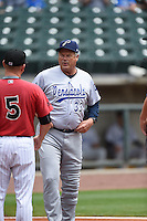 ***Temporary Unedited Reference File***Pensacola Blue Wahoos manager Pat Kelly (33) during a game against the Birmingham Barons on May 2, 2016 at Regions Field in Birmingham, Alabama.  Pensacola defeated Birmingham 6-3.  (Mike Janes/Four Seam Images)