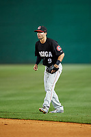 Chattanooga Lookouts second baseman Levi Michael (9) during a game against the Jackson Generals on April 27, 2017 at The Ballpark at Jackson in Jackson, Tennessee.  Chattanooga defeated Jackson 5-4.  (Mike Janes/Four Seam Images)