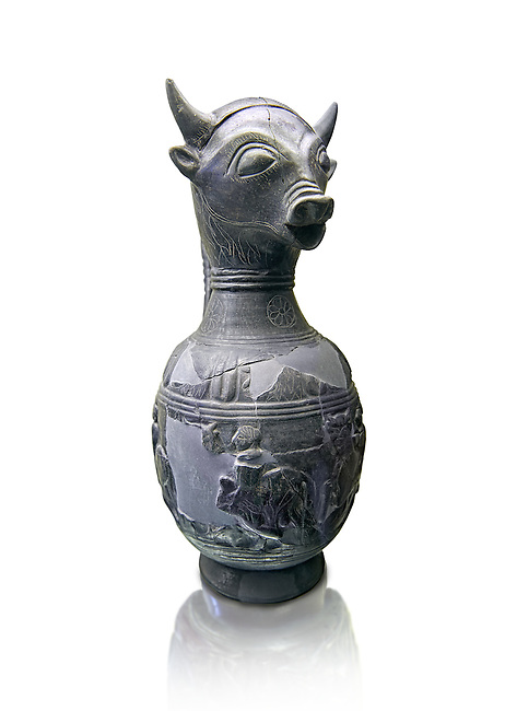 6th century BC Etruscan Bull headed bucherro style oinochoe, or wine jug,  made in Chuisi and excavated from the necropolis de Fonte Rotella, inv 3190, National Archaeological Museum Florence, Italy , white background