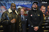 Daniel Dubois (L), Frank Warren and Razvan Cojanu during a Press Conference at The Gore Hotel on 6th March 2019
