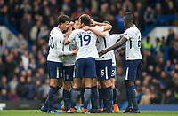 Goal celebrations after Christian Eriksen of Spurs equalises during the Premier League match between Chelsea and Tottenham Hotspur at Stamford Bridge, London, England on 1 April 2018. Photo by Andy Rowland.