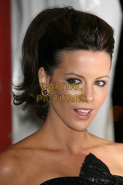 """KATE BECKINSALE.Spike TV Presents """"Scream Awards 2006"""" - Arrivals .held at Pantages Theater, Hollywood, California, USA,.7 October 2006..portrait headshot hair up updo gold Chanel earrings.Ref: ADM/ZL.www.capitalpictures.com.sales@capitalpictures.com.©Zach Lipp/AdMedia/Capital Pictures."""