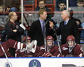 John Hegarty (BC - Dir-Hockey Operations), Edwin Shea (BC - 8), Greg Brown (BC - Assistant Coach), Brian Dumoulin (BC - 2), Jerry York (BC - Head Coach), Tommy Cross (BC - 4) - The Northeastern University Huskies defeated the Boston College Eagles 3-2 on Friday, February 19, 2010, at Matthews Arena in Boston, Massachusetts.
