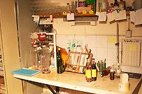 A corner of the wine cellar that serves as the laboratory with various testing equipment - Chateau Haut Bergeron, Sauternes, Bordeaux