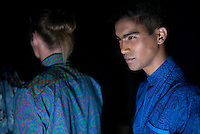 CAPE TOWN, SOUTH AFRICA JULY 2: Models walking for the designer label Presidential Shirt waits backstage before a show at South Africa Menswear week 2015 on July 2, 2015 in Cape Town, South Africa. The second edition of SAMW featured designers from South Africa and around Africa showing spring and summer collections during the 3-day event. The label was founded in 1994 when President Nelson Mandela started wearing the Madiba shirt and it became a fashion. (Photo by Per-Anders Pettersson)