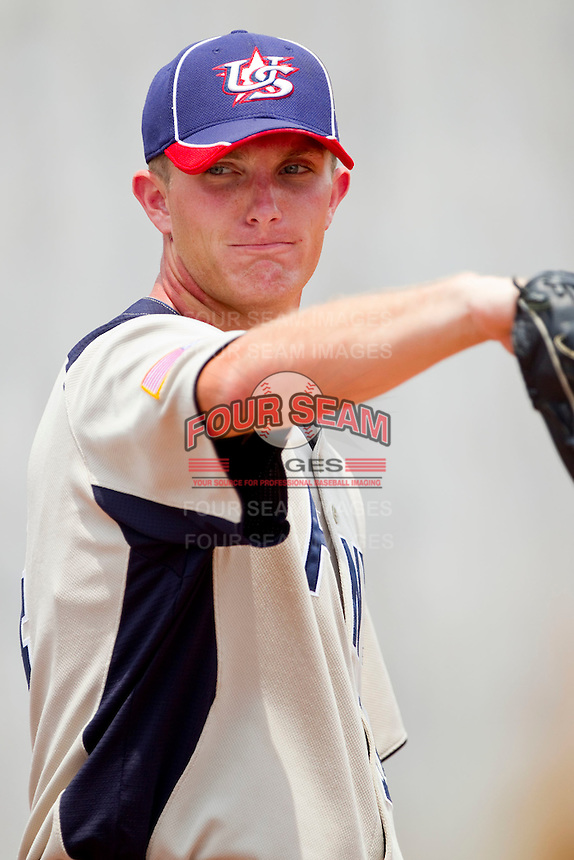 Matthew Crownover #14 of PONY in the bullpen during the game against Dixie at the 2011 Tournament of Stars at the USA Baseball National Training Center on June 26, 2011 in Cary, North Carolina.  PONY defeated Dixie 4-3. (Brian Westerholt/Four Seam Images)