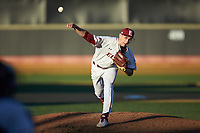 Elon Phoenix starting pitcher George Kirby (13) in action against the Quinnipiac Bobcats at David F. Couch Ballpark on February 24, 2019 in  Winston-Salem, North Carolina. (Brian Westerholt/Four Seam Images)