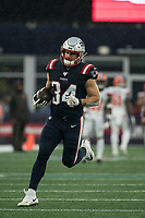 FOXBOROUGH, MA - OCTOBER 27: New England Patriots Runningback Rex Burkhead #34 during a game between Cleveland Browns and New Enlgand Patriots at Gillettes on October 27, 2019 in Foxborough, Massachusetts.
