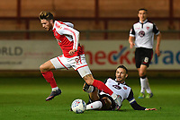 Fleetwood Town's Wes Burns is dispossessed by Morecambe's Michael Rose<br /> <br /> Photographer Dave Howarth/CameraSport<br /> <br /> EFL Checkatrade Trophy - Northern Section Group A - Fleetwood Town v Morecambe - Tuesday 3rd October 2017 - Highbury Stadium - Fleetwood<br />  <br /> World Copyright &copy; 2018 CameraSport. All rights reserved. 43 Linden Ave. Countesthorpe. Leicester. England. LE8 5PG - Tel: +44 (0) 116 277 4147 - admin@camerasport.com - www.camerasport.com