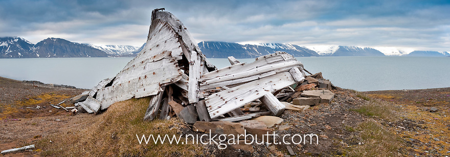 Derelict remains of an old  whaling boat. Shorline, Northern Spitsbergen, Svalbard, Arctic Norway.