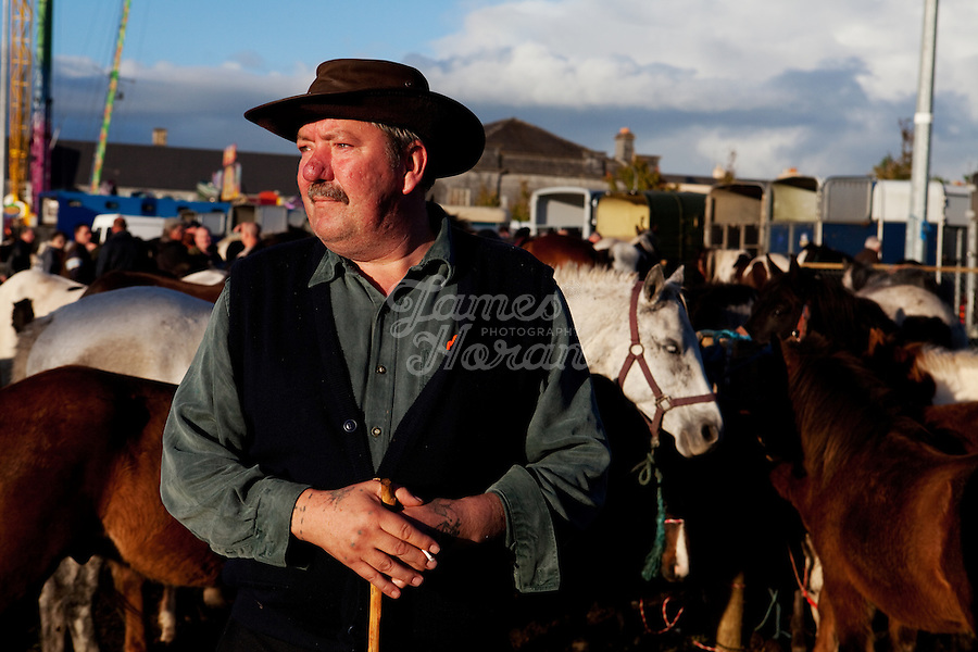 3/10/2010.  A horse trader is pictured at the Ballinasloe Horse Fair, Ballinasloe, County Galway, Ireland. Picture James Horan