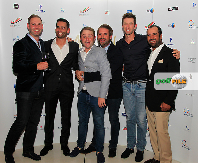 Lee Slattery, Andy Sullivan and Matthew Baldwin during the 2015 Abu Dhabi Invitational Gala Evening held at The Viceroy Hotel, Yas Island, Abu Dhabi.: Picture Eoin Clarke, www.golffile.ie: 1/25/2015