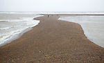 Temporary shingle spit perpendicular to coast formed by strong southerly winds, Shingle Street, Suffolk, England