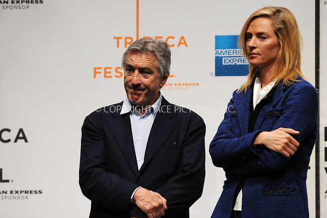 WWW.ACEPIXS.COM . . . . . ....April 21 2009, New York City....Robert De Niro, one of the founders of the Tribecca Film Festival, and actress Uma Thurman at the 8th annual Tribeca Film Festival opening press conference at the Tribeca Performing Arts Center on April 21, 2009 in New York City.....Please byline: KRISTIN CALLAHAN - ACEPIXS.COM.. . . . . . ..Ace Pictures, Inc:  ..tel: (212) 243 8787 or (646) 769 0430..e-mail: info@acepixs.com..web: http://www.acepixs.com