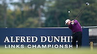 David Drysdale of Scotland tees off during the Final Round of the 2015 Alfred Dunhill Links Championship at the Old Course, St Andrews, in Fife, Scotland on 4/10/15.<br /> Picture: Richard Martin-Roberts | Golffile