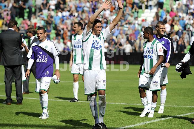 voetbal fc groningen - ajax  eredivisie seizoen 2010-2011 08-08-2010 jonas ivens juicht na de 2-2 eindstand.