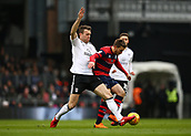 17th March 2018, Craven Cottage, London, England; EFL Championship football, Fulham versus Queens Park Rangers; Kevin McDonald of Fulham puts pressure on Luke Freeman of Queens Park Rangers