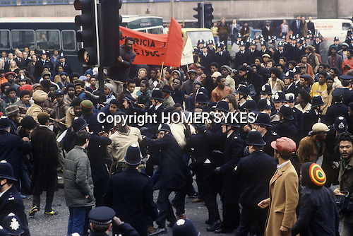 NEW CROSS FIRE, SOUTH LONDON 1981 PEOPLE DEMONSTRATE ABOUT THE DEATH OF 13 PEOPLE, POLICE BLAMED, MARCH TO WESTEND, 1981 <br /> The New Cross Fire was a devastating house fire which killed 13 young black people during a birthday party in New Cross, southeast London on Sunday 18 January 1981. Some were shocked by what they perceived as the indifference of the white population, and accused the London Metropolitan Police of covering up the cause, which they suspected was an arson attack motivated by racism; the protests arising out of the fire led to a mobilisation of black political activity. Nobody has ever been charged in relation to the fire