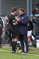 Referee Steven Brown has words with Rangers Coach, Billy Kirkwood in the Celtic v Rangers City of Glasgow Cup Final match played at Firhill Stadium, Glasgow on 29.4.13,  organised by the Glasgow Football Association and sponsored by City Refrigeration Holdings Ltd.