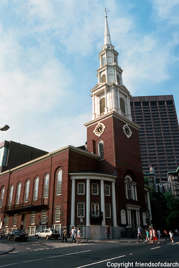 Boston:  Park Street Church 1804.  Peter Banner, Architect. Historic stop on the Freedom Trail.   Photo '88.