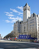 The Trump International Hotel under construction in Washington, DC looking up Pennsylvania Avenue, NW towards the United States Capitol on March 6, 2016.  It is located at 1100 Pennsylvania Avenue, NW in an 1899 vintage building known as the Old Post Office Pavilion that was later officially renamed the Nancy Hanks Center.  When complete, the renovation and conversion to a 260 room luxury hotel will cost $200 million.  <br /> Credit: Ron Sachs / CNP