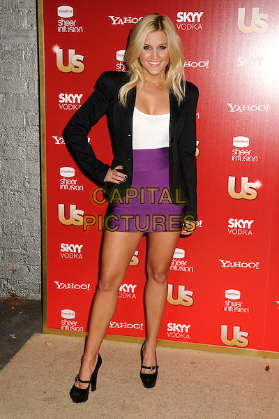ASHLEY ROBERTS.US Weekly's Hot Hollywood Party 2009 held at Voyeur, West Hollywood, California, USA..November 18th, 2009.full length black blazer jacket shoulder pads white top purple skirt hand on hip platform mary janes strap shoes.CAP/ADM/BP.©Byron Purvis/AdMedia/Capital Pictures.