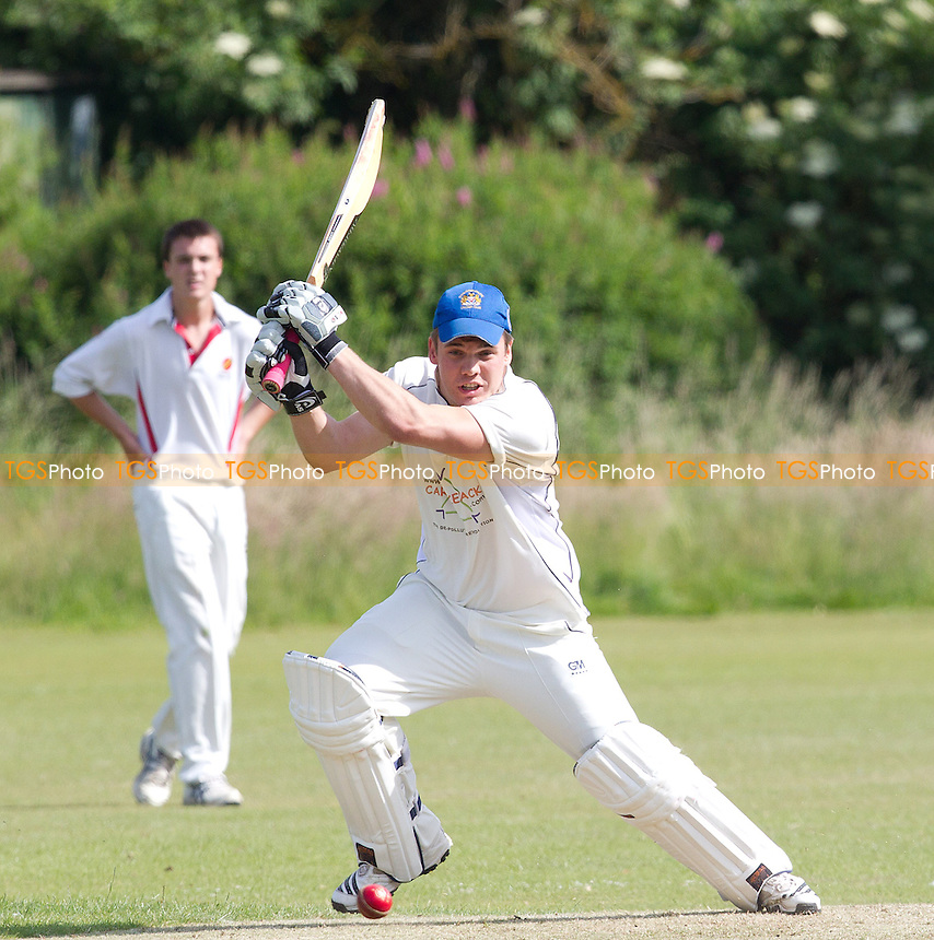 Tom Samson of Hornchurch Athletic plays through the off side - Broomfield CC v Hornchurch Athletic CC - Essex Cricket League - 29/06/13 - MANDATORY CREDIT: Ray Lawrence/TGSPHOTO - Self billing applies where appropriate - 0845 094 6026 - contact@tgsphoto.co.uk - NO UNPAID USE