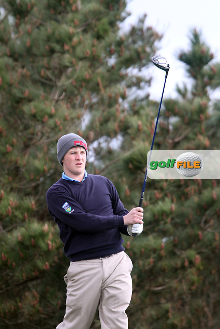 Robbie Pierse (Grange) on the 3rd tee during the Leinster Youths Amateur Open Championship in the European Club, Brittas Bay, Co.Wicklow. 27/3/13..(Photo Jenny Matthews/www.golffile.ie)