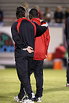 24 March 2004: DC United head coach Peter Nowak (left) has a walking discussion with Freddy Adu (right) before the game. DC United of Major League Soccer defeated the Wilmington Hammerheads of the Pro Select League 1-0 at the Legion Sports Complex in Wilmington, NC in a Carolina Challenge Cup match..
