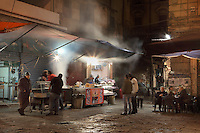 "Vucciria at night, oldest market of Palermo, Piazza Caracciolo, Sicily, Italy. The name probably derives from the word ?Bucceria?, which in turn comes from the French ""boucherie"", which means butcher. The Vucciria originally was dedicated primarily to the sale of meat. Picture by Manuel Cohen"