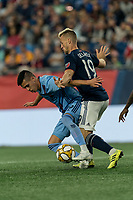 FOXBOROUGH, MA - SEPTEMBER 29: Jesus Medina #19 of New York City FC attempts to control the ball as Antonio Mlinar Delamea #19 of New England Revolution defends during a game between New York City FC and New England Revolution at Gillette Stadium on September 29, 2019 in Foxborough, Massachusetts.