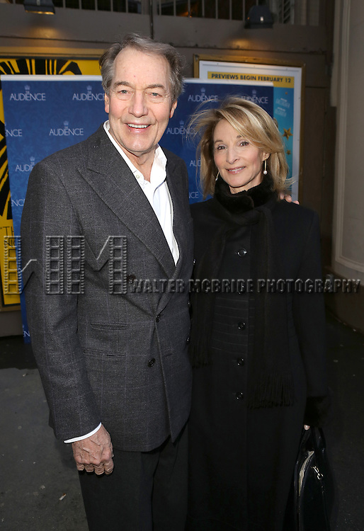 Charlie Rose and wife Amanda Burden attends the Broadway Opening Night Performance of 'The Audience' at The Gerald Schoendeld Theatre on March 8, 2015 in New York City.