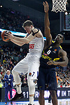 Real Madrid's Luka Doncic (l) and Fenerbahce Istambul's Ekpe Udoh during Euroleague, Regular Season, Round 29 match. March 31, 2017. (ALTERPHOTOS/Acero)