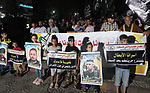 Palestinians take part in protest to show solidarity with prisoners on hunger strike in Israeli jails, in Gaza city on September 19, 2019.  Photo by Mahmoud Ajjour