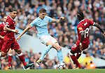 John Stones of Manchester City tackled by Sadio Mane of Liverpool during the premier league match at the Etihad Stadium, Manchester. Picture date 9th September 2017. Picture credit should read: David Klein/Sportimage