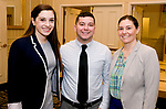 SOUTHBURY, CT-012318JS17--Julie Donato, Waterbury Regional Chamber Membership Services and Communications Director, left, with Intern Dillon Joyce and Alison Amato, Office Manager and Programs Assistant, at the Waterbury Regional Chamber's Legislative and Economic Summit held at the Wyndham Southbury. <br /> Jim Shannon Republican-American