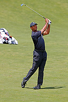 Tiger Woods (USA) hits his second shot on the 9th hole during the second round of the 118th U.S. Open Championship at Shinnecock Hills Golf Club in Southampton, NY, USA. 15th June 2018.<br /> Picture: Golffile | Brian Spurlock<br /> <br /> <br /> All photo usage must carry mandatory copyright credit (&copy; Golffile | Brian Spurlock)