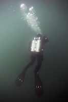 Monday, June 21, 2010:  Diver Jay Scwartz of the San Diego Oceans Foundation makes his way to the surface after diving on the wreck of the HMCS Yukon.  The wreck which was prepared and sunk for recreational divers to enjoy will have been underwater for ten years in July of this year.