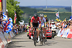 The breakaway summit the Cat 3 climb of Cote d'Eschdorf during Stage 3 of the 104th edition of the Tour de France 2017, running 212.5km from Verviers, Belgium to Longwy, France. 3rd July 2017.<br /> Picture: Eoin Clarke | Cyclefile<br /> <br /> All photos usage must carry mandatory copyright credit (&copy; Cyclefile | Eoin Clarke)