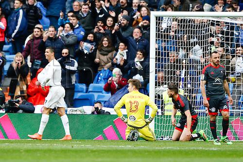 05.03.2016.  Madrid, Spain.  Cristiano Ronaldo dos Santos (7) Real Madrid celebrates after scoring his team´s goal for 4-1. La Liga between Real Madrid versus Celta de Vigo at the Santiago Bernabeu stadium in Madrid, Spain