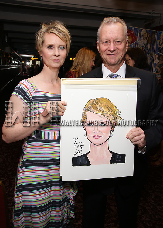 Cynthia Nixon and Max Klimavicius attend the portrait unveilings of Laura Linney and Cynthia Nixon starring on Broadway in the Manhattan Theatre Club's THE LITTLE FOXES, at Sardi's on June 29, 2017 in New York City.