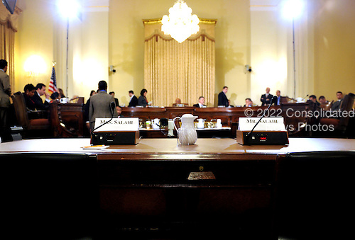 """Washington, D.C. - December 3, 2009 -- Empty seats reserved for Tariq and Michaele Salahi before the U.S. House Homeland Security Committee in Washington, D.C. on Thursday, December 3, 2009.  The theme of the hearing was """"The U.S. Secret Service and Presidential Protection: An Examination of a System Failure"""".  The committee earlier heard testimony concerning the security lapse at the White House that allowed the Salahis to attend the State Dinner in honor of Prime Minister Singh of India without having been invited.  .Credit: Ron Sachs / CNP.(RESTRICTION: NO New York or New Jersey Newspapers or newspapers within a 75 mile radius of New York City)"""
