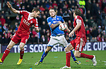 Aberdeen v St Johnstone....01.02.14   League Cup Semi-Final<br /> Stevie May loses out to Mark Reynolds and Russell Anderson<br /> Picture by Graeme Hart.<br /> Copyright Perthshire Picture Agency<br /> Tel: 01738 623350  Mobile: 07990 594431