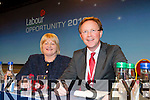 Senator Marie Moloney and Arthur Spring TD on stage at the Labour party conference in the INEC on Friday
