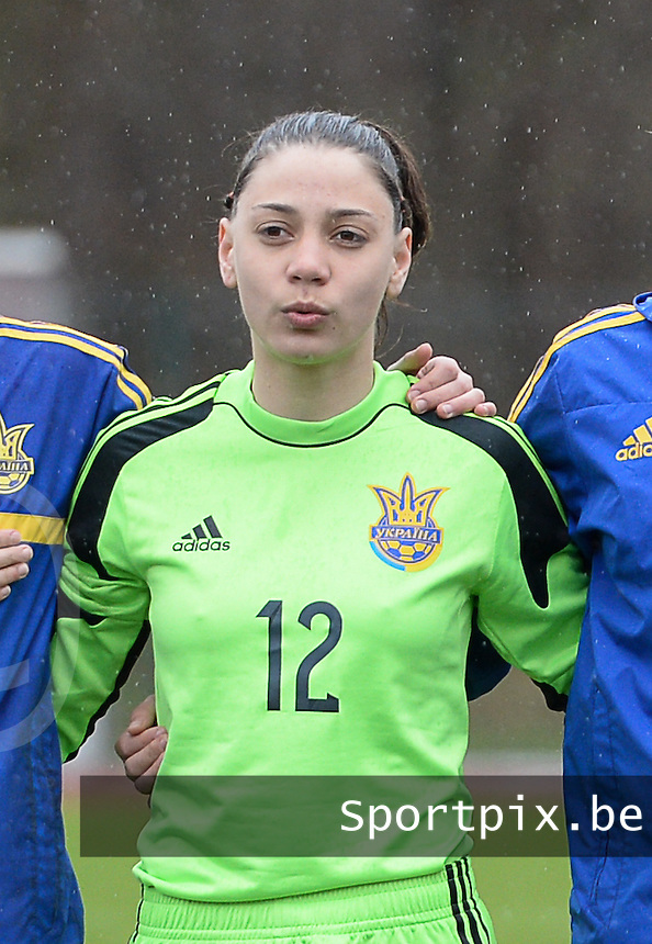 20150404 - FORST , GERMANY  : Ukrainian goalkeeper Viktoriia Kyslova pictured during the soccer match between Women Under 19 teams of Belgium and Ukraine , on the first matchday in group 5 of the UEFA Elite Round Women Under 19 at WaldseeStadion , Forst , Germany . Saturday 4th April 2015 . PHOTO DAVID CATRY