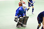 Berlin, Germany, January 31: Felix Reuss #31 of Club an der Alster in action during the 1. Bundesliga Herren Hallensaison 2014/15 semi-final hockey match between Rot-Weiss Koeln (dark blue) and Club an der Alster (red) on January 31, 2015 at the Final Four tournament at Max-Schmeling-Halle in Berlin, Germany. Final score 4-3 (2-2). (Photo by Dirk Markgraf / www.265-images.com) *** Local caption ***