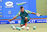 Aaron Teys (Gorillas). Murray Steamers v Illawarra Gorillas preliminary final. Bowls Premier League at Naenae Bowling Club in Wellington, New Zealand on Thursay, 26 April 2018. Photo: Dave Lintott / lintottphoto.co.nz